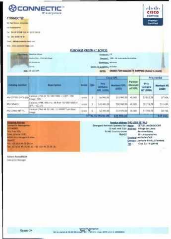 RANARISON Tsilavo ont signé les bons de commande de EMERGENT pour WESTCON Africa Page18 - En février 2009, RANARISON Tsilavo établit le premier bon de commande des produits CISCO  achetés à la société WESTCON Africa COMSTOR par EMERGENT NETWORK