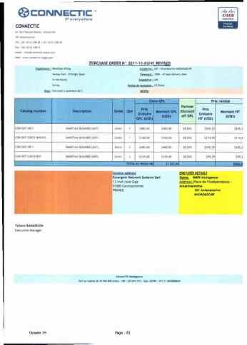 RANARISON Tsilavo ont signé les bons de commande de EMERGENT pour WESTCON Africa Page21 - Les BC des produits CISCO achetés chez WESTCON COMSTOR par EMERGENT NETWORK pour CONNECTIC sont signés par RANARISON Tsilavo