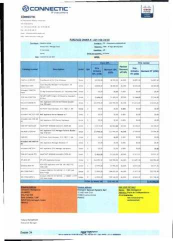 RANARISON Tsilavo ont signé les bons de commande de EMERGENT pour WESTCON Africa Page23 - Le 4 mars 2009, RANARISON Tsilavo établit la convention de partenariat pour l'achat des produits CISCO par la société EMERGENT NETWORK