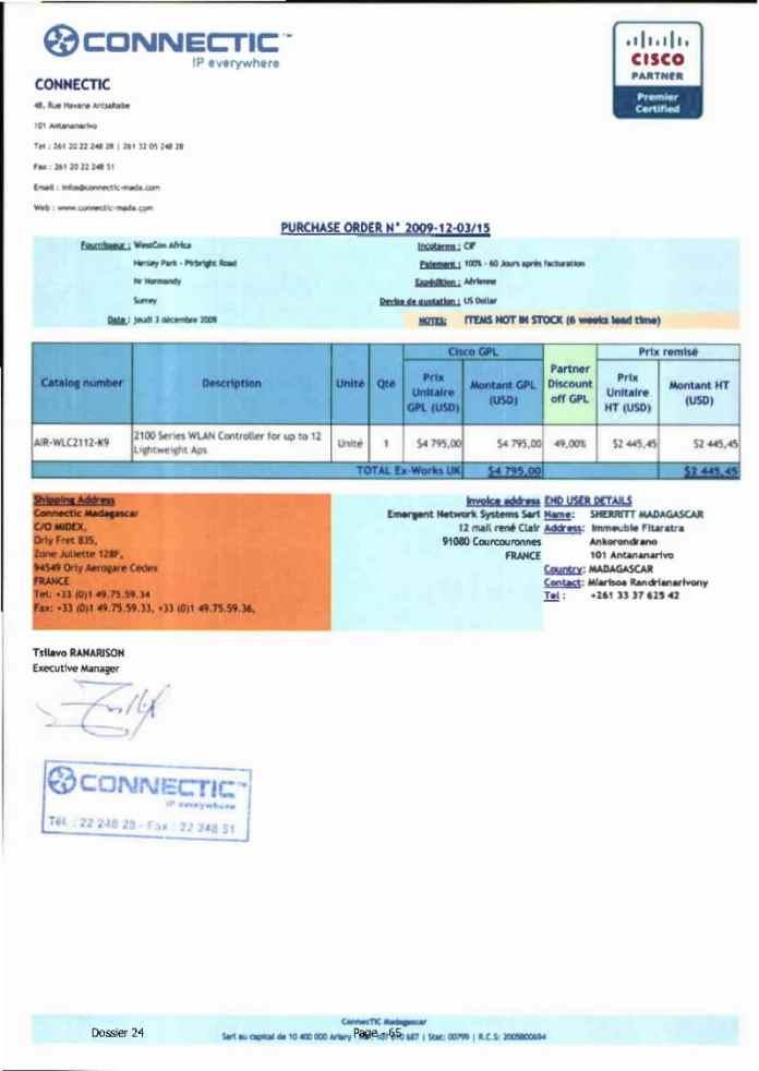 RANARISON Tsilavo ont signé les bons de commande de EMERGENT pour WESTCON Africa Page5 - Ce n'est qu'en septembre 2012, que RANARISON Tsilavo reçoit la confirmation que la société française EMERGENT NETWORK appartient exclusivement à Solo