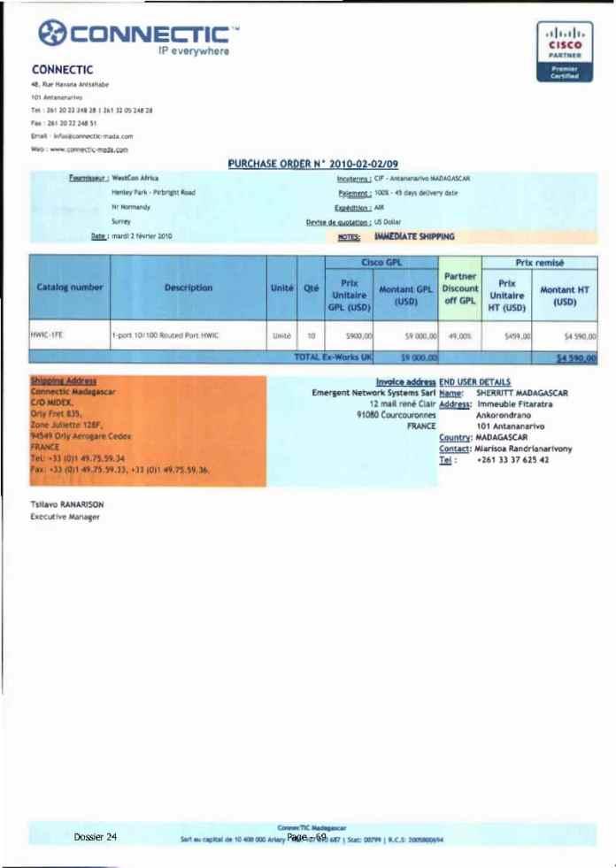 RANARISON Tsilavo ont signé les bons de commande de EMERGENT pour WESTCON Africa Page9 - RANARISON Tsilavo signent les bons de commande des produits CISCO achetés par EMERGENT NETWORK à WESTCON pour CONNECTIC