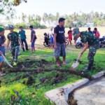 Satgas 734 Bangun Saluran Air di Desa Pandanga Morotai