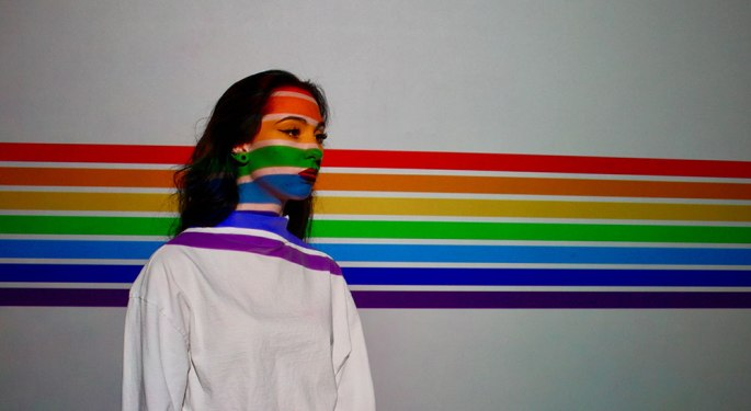 woman be proud on rainbow color