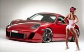red Porsche 911 GT3 and car girl wallpaper