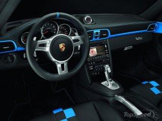 2010 blue Porsche 911 Speedster Interior Steering wheel
