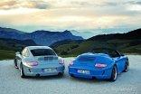 2010 blue Porsche 911 Speedster Rear view