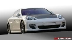 2011 white DMC Tuning Porsche Panamera Turbo Front angle view