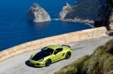 Peridot Metallic 2011 Porsche Cayman R Side angle top view