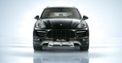 Jet Black Metallic Porsche Cayenne Turbo 2011 3000x1560 wallpaper Front view