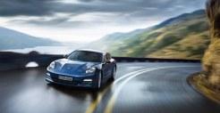 Aqua Blue Metallic Porsche Panamera 4S 2011 wallpaper Front angle view