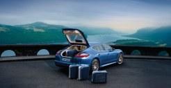 Aqua Blue Metallic Porsche Panamera 4S 2011 wallpaper Rear angle view