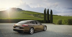Cognac Metallic Porsche Panamera 4 2011 wallpaper Rear angle view