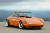 Singer Racing Orange Porsche 911 Front angle view