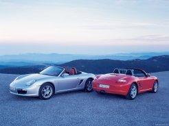 2008 Porsche Boxster wallpaper Rear and front view Two Porsches