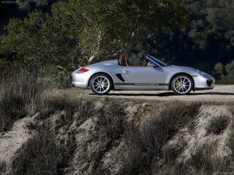 2010 Silver Porsche Boxster Spyder wallpaper Side view