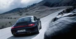 2011 Black Porsche 911 Carrera 4 Wallpaper Rear angle view
