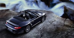 2011 Black Porsche 911 Turbo S Cabriolet Wallpaper Rear angle top view