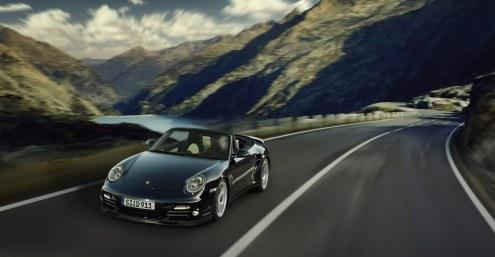 2011 Black Porsche 911 Turbo S Cabriolet Wallpaper Front angle view