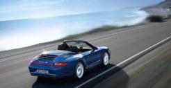 2011 Blue Porsche 911 Carrera 4S Cabriolet Wallpaper Rear angle side view