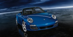 2011 Blue Porsche 911 Carrera 4S Cabriolet Wallpaper Front angle view