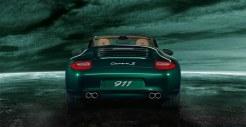 2011 Green Porsche 911 Carrera S Cabriolet Wallpaper Rear view