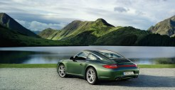 2011 Green Porsche 911 Targa 4 Wallpaper Rear angle side view