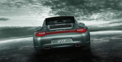 2011 Green Porsche 911 Targa 4 Wallpaper Rear view