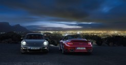 2011 Grey Porsche 911 Turbo Wallpaper Front view Lights on