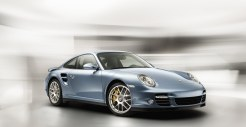 2011 Ice Blue Porsche 911 Turbo S Wallpaper Front angle side view