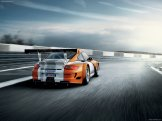 2011 Orange Porsche 911 GT3 R Hybrid Wallpaper Rear angle view