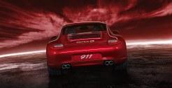 2011 Red Porsche 911 carrera 4S Wallpaper Rear view