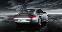 2011 Silver Porsche 911 Carrera Wallpaper Rear angle view