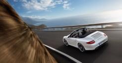 2011 White Porsche 911 Carrera GTS Cabriolet Wallpaper Rear side angle view