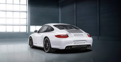 2011 White Porsche 911 Carrera GTS Wallpaper Rear angle view