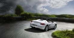 2011 Carrara White Porsche Boxster Spyder wallpaper Rear angle view