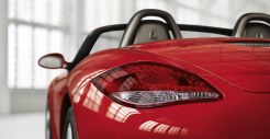 2011 Guards Red Porsche Boxster S wallpaper Rear view corner