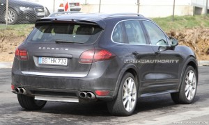 2012 Porsche Cayenne Turbo S Spy shots at Nurburgring circuit Rear angle view