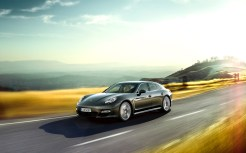 Topaz brown Metallic 2011 Porsche Panamera Turbo S wallpaper Side angle view