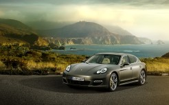 Topaz brown Metallic 2011 Porsche Panamera Turbo S wallpaper Front angle view