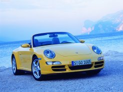 2006 Yellow Porsche 911 Carrera 4 Cabriolet Wallpaper Front angle side view