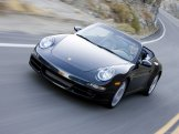 2007 Black Porsche 911 Carrera 4S Cabriolet Wallpaper Front angle view
