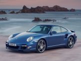 2007 Blue Porsche 911 Turbo Wallpaper Front angle side view