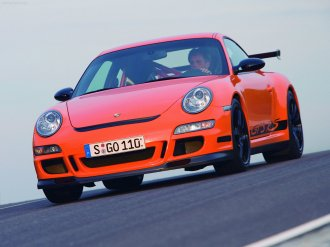 2007 Orange Porsche 911 GT3 RS Wallpaper Front angle view