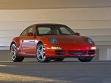 2007 Red Porsche 911 Carrera 4 Wallpaper Front angle side view