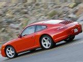2007 Red Porsche 911 Carrera 4 Wallpaper Rear angle side view