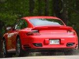 2007 Red Porsche 911 Turbo Wallpaper Rear angle view