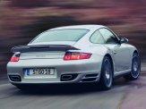 2007 Silver Porsche 911 Turbo Wallpaper Rear side angle view