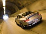 2007 Silver Porsche 911 Turbo Wallpaper Rear angle view