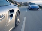 2007 Silver Porsche 911 Turbo Wallpaper Side angle view In motion