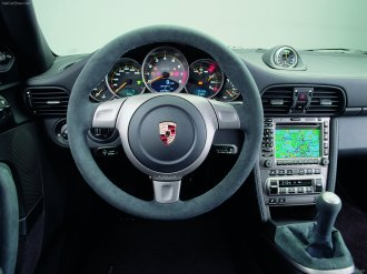 2008 Silver Porsche 911 GT2 Wallpaper Interior Steering Wheel